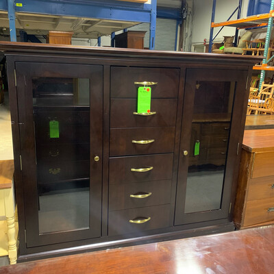 2 Door 6 Drawer Glass Cabinet
