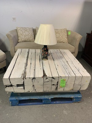 White Painted Railroad Tie Coffee Table