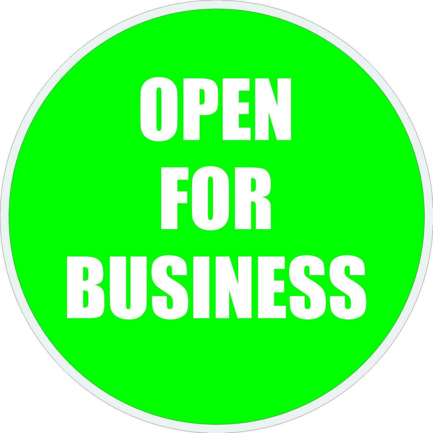 Window Decals - OPEN FOR BUSINESS Graphic