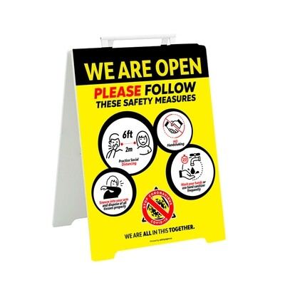 COVID We Are Open A-Board