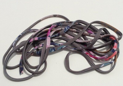 Covered Elastic: Gray w/Floral (4 Yards)