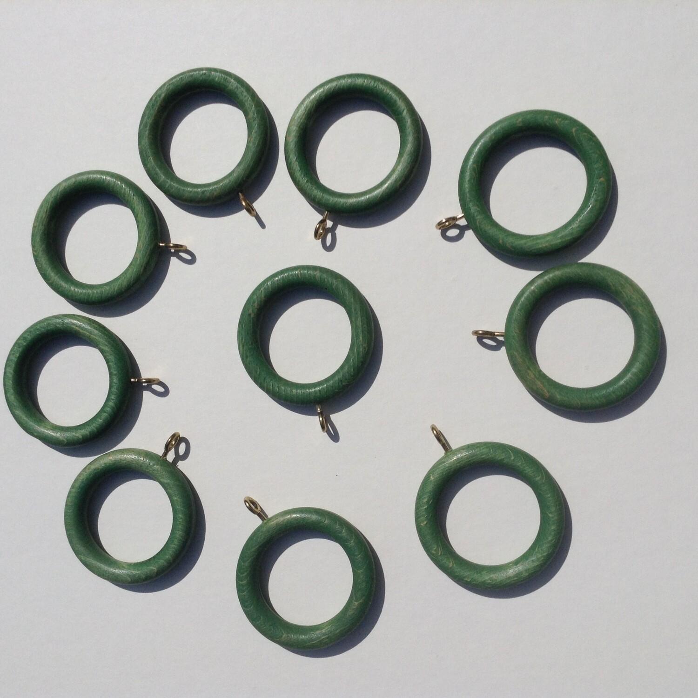 """Wooden Rings- 2""""  w/eye screw, Green paint wash"""