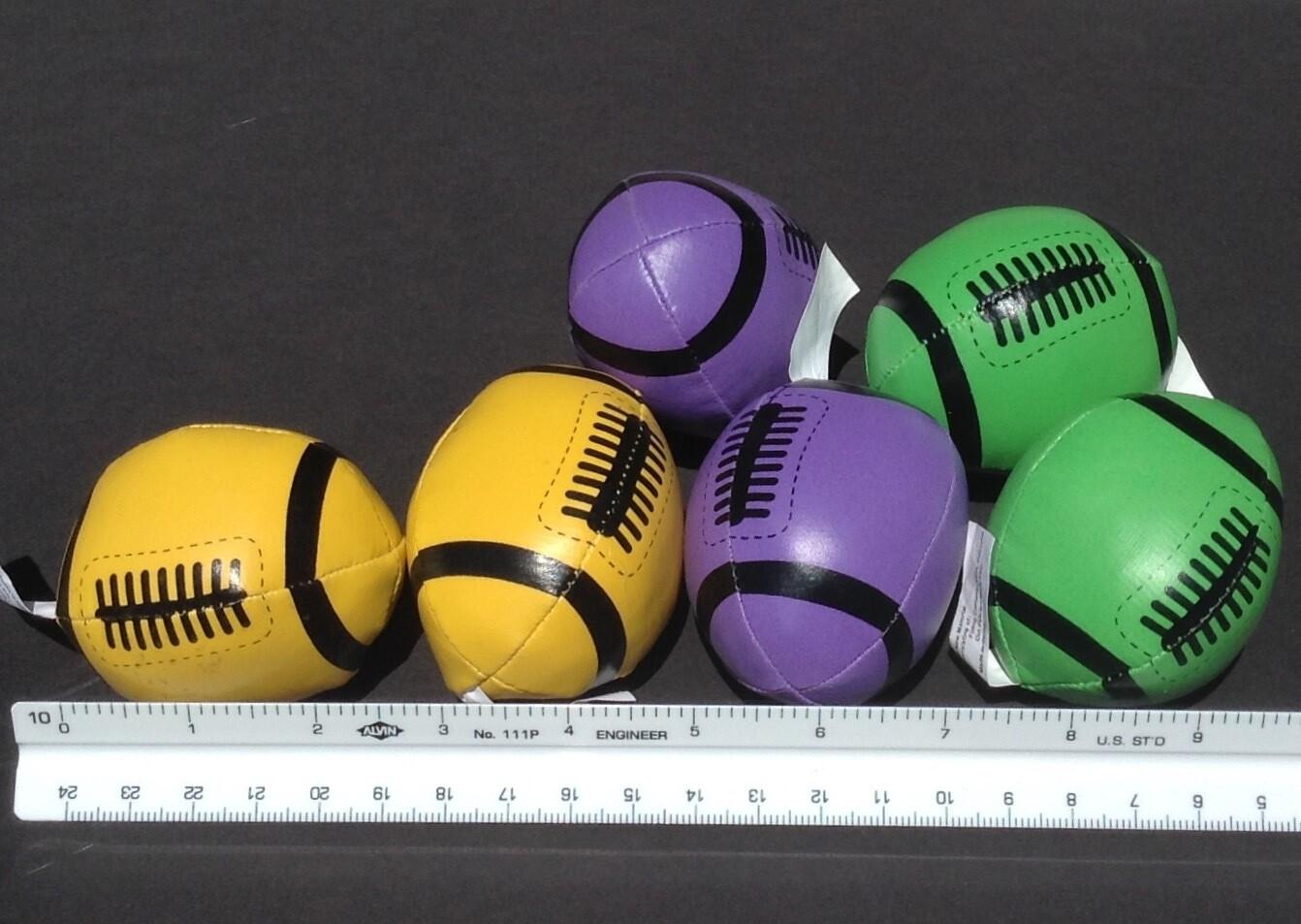 Soft, Mini Footballs (6 per order) Mixed Bunch