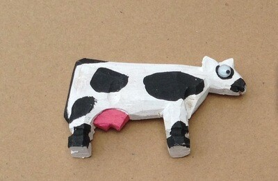 Google-eye Painted Wooden Cows / Set of 3