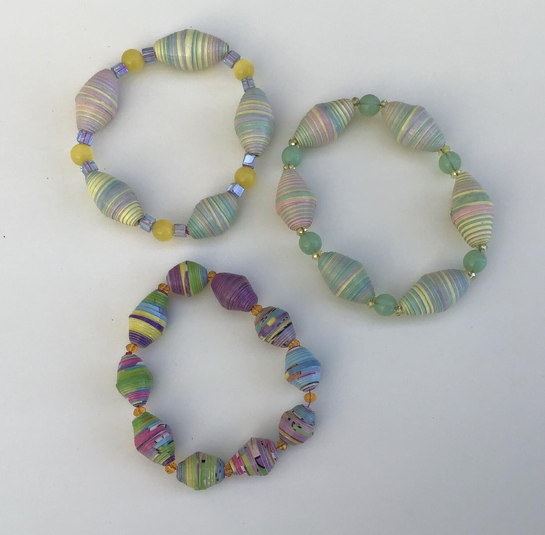 Three Cereal Box Bead Bracelets