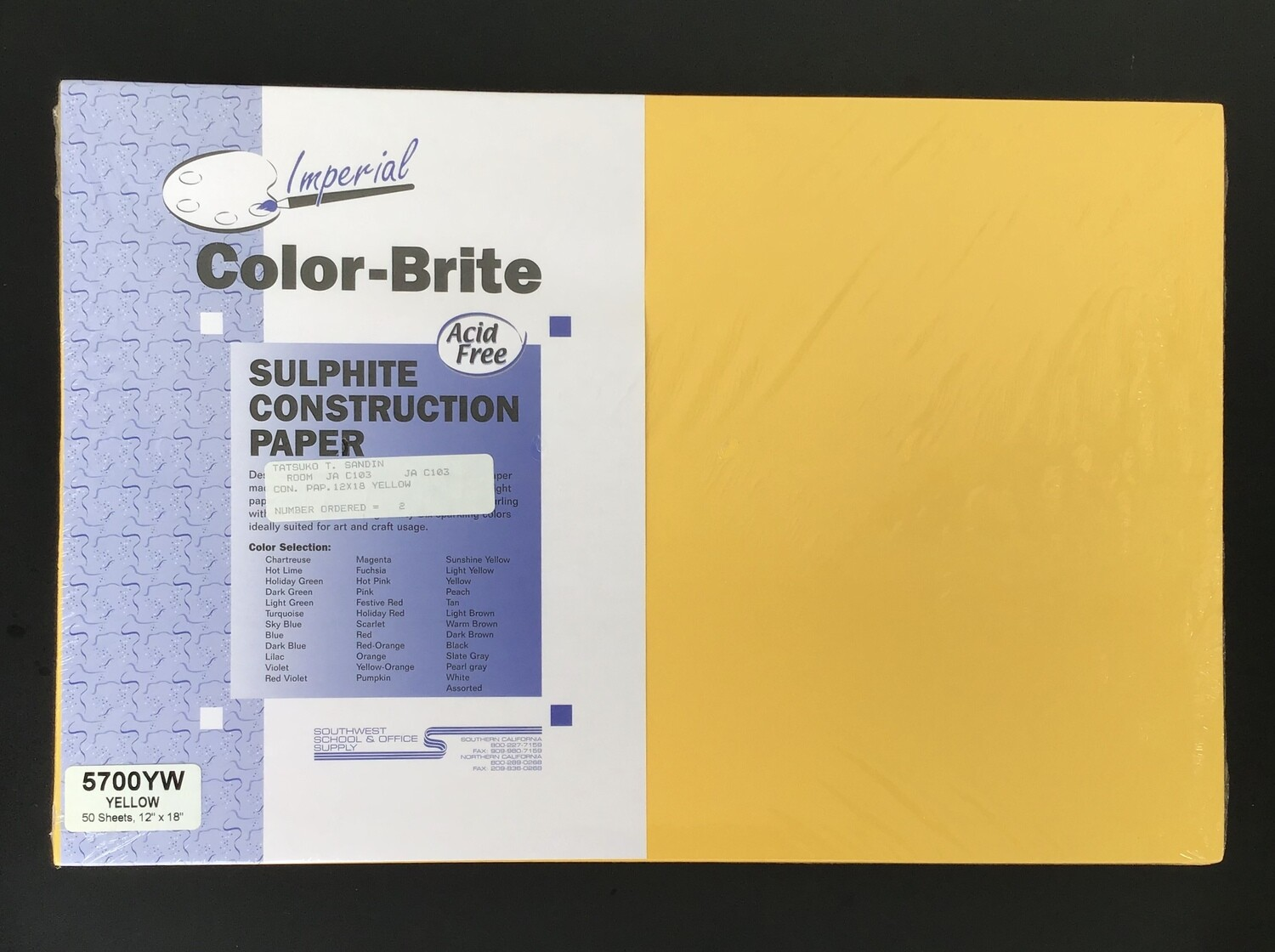 Construction Paper / Yellow