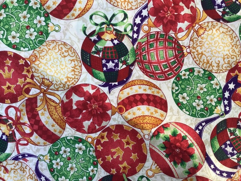 Fabric: Christmas Ornaments / Cotton
