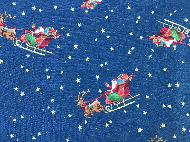 Fabric: Christmas Santa and Sleigh / Cotton