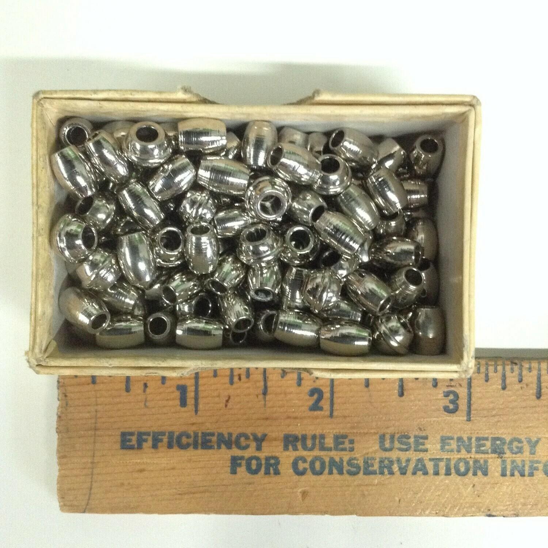 Beads: Silver Tone Barrel / Metal