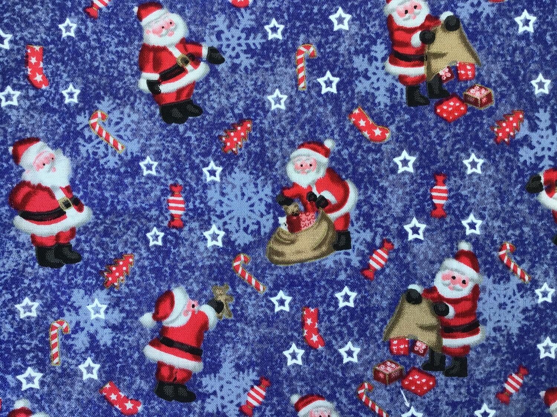 Fabric: Santas on Purple Background / Cotton