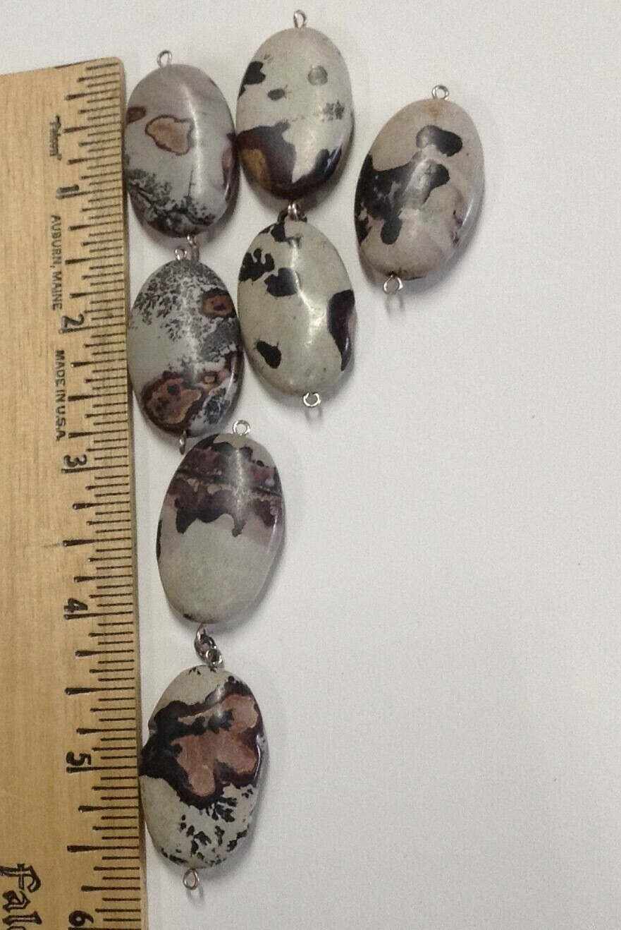 Patterned Limestone Beads w/Connectors