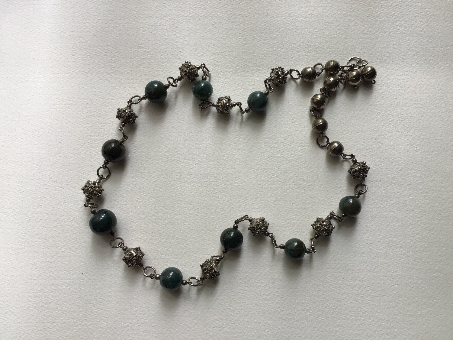 Dark Green Silver Toned Necklace