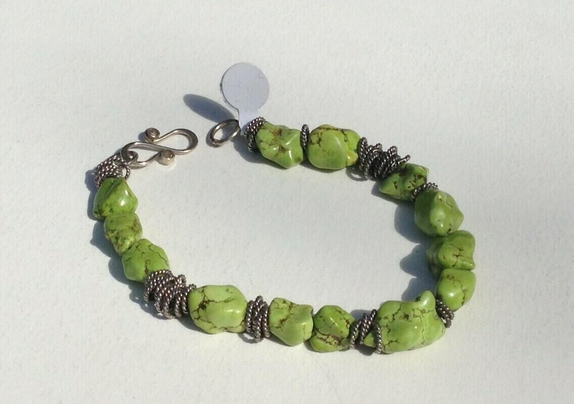 Bracelet: Green Stones with Metal Rings
