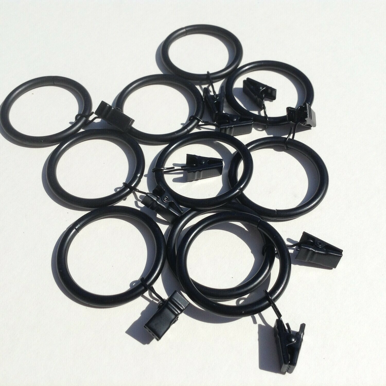 "Metal Rings w/Clips - 2"" Diameter / Set of 10 / Black"
