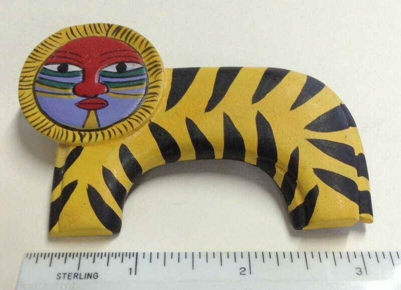 Tiger Pin: Hand-painted, Wooden