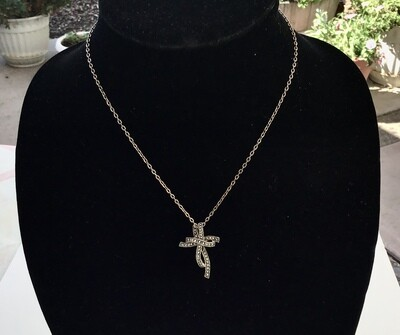 Marcasite Double Cross Sterling Pendant With Chain