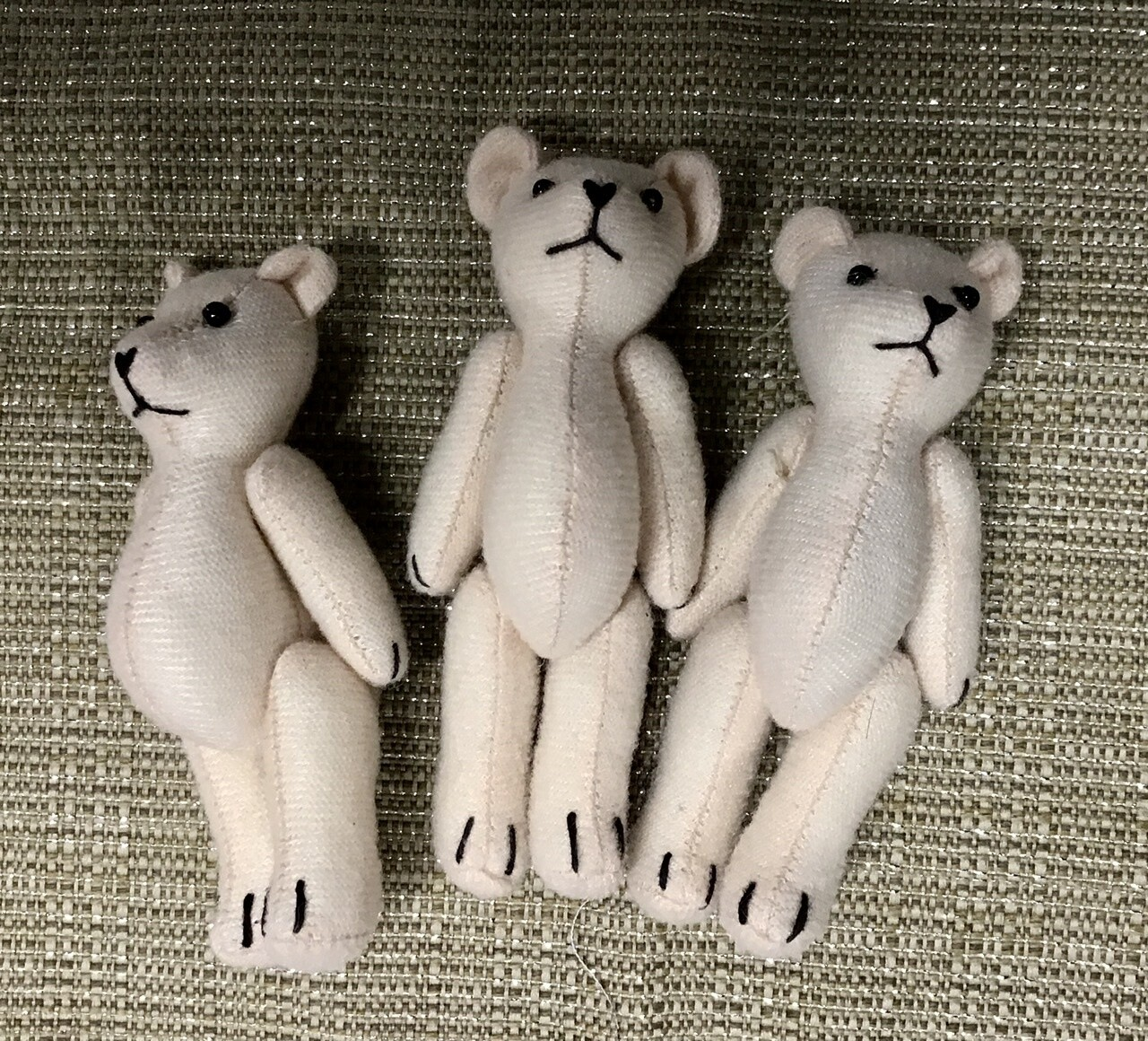 Three Fabric Teddy Bears - Cream
