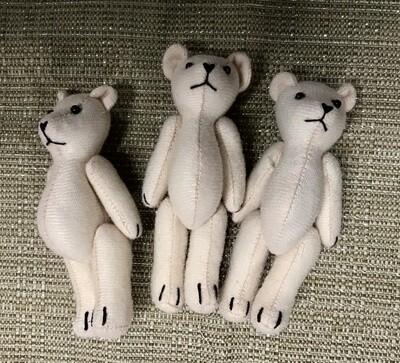 Three Fabric Teddy Bears - Cream
