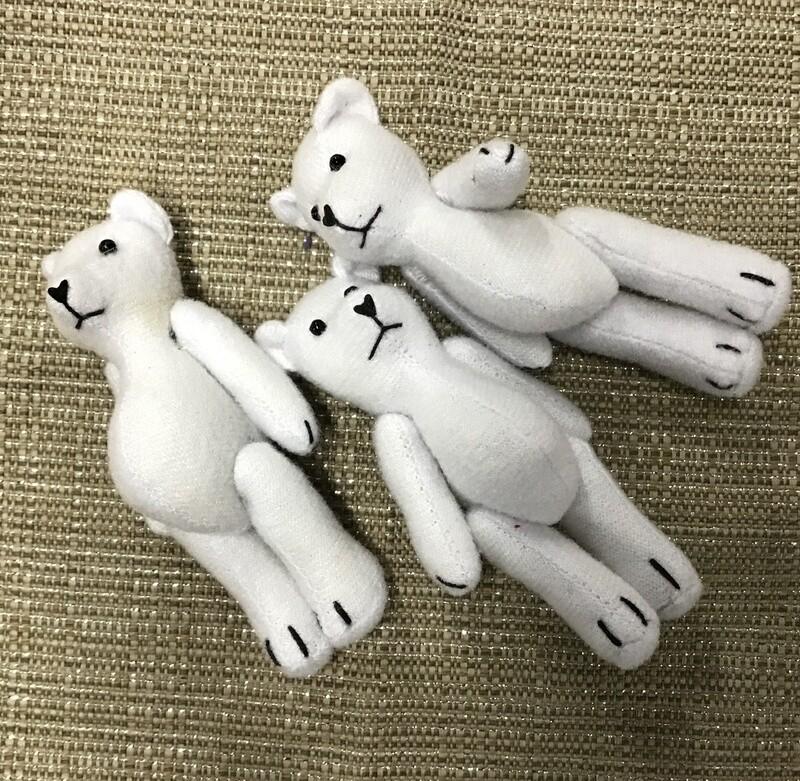 Three Fabric Teddy Bears - White