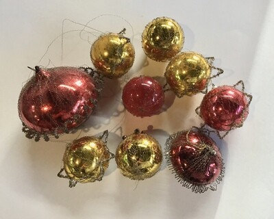 Vintage Tinsel Wrapped Glass Ornaments