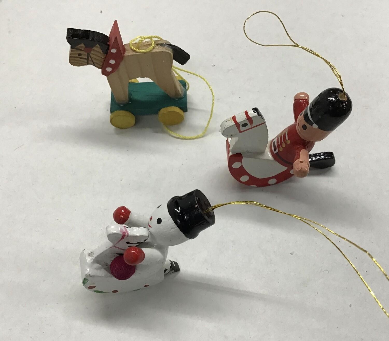 Three Miniature Wood Ornaments #3