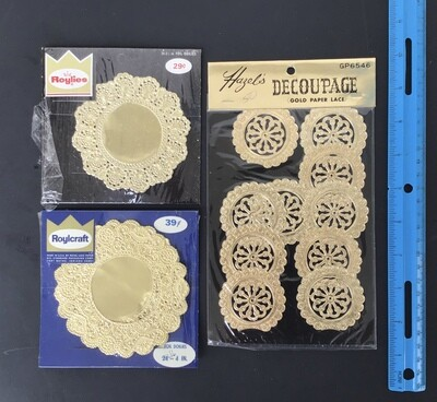 Gold Paper Lace Decorations Vintage #A