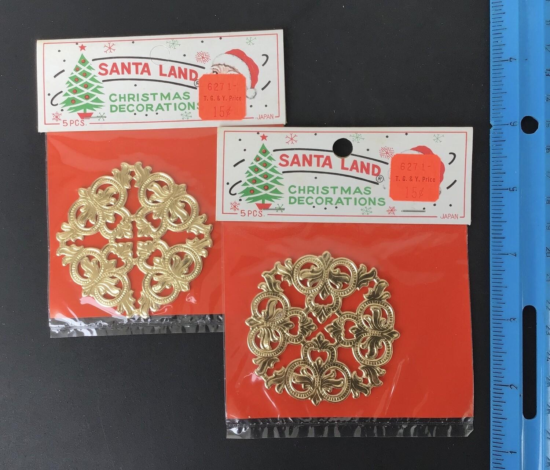 Gold Paper Lace Decorations Vintage #B