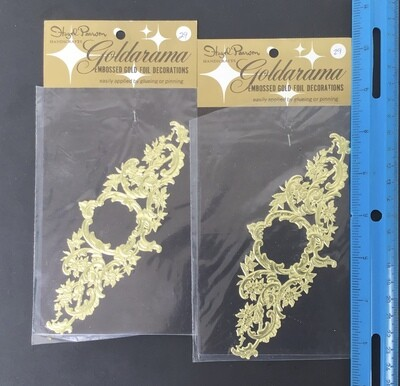 Gold Embossed Paper Lace Decorations Vintage #1