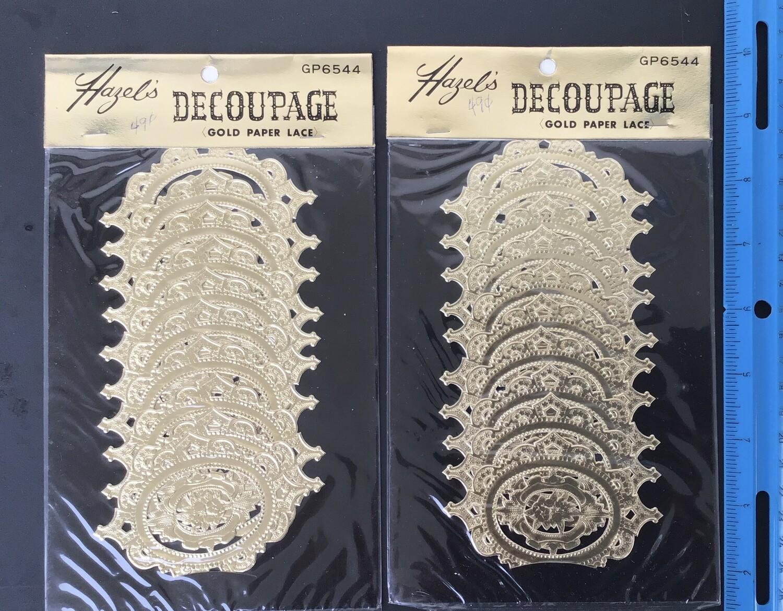 Gold Paper Lace Decorations Vintage #C