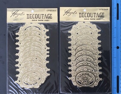 Gold Paper Lace Decorations Vintage #C