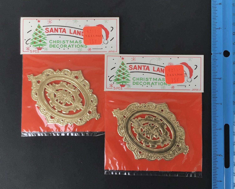 Gold Paper Lace Decorations Vintage #D