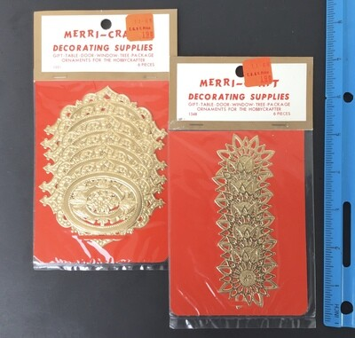 Gold Paper Lace Decorations Vintage #F