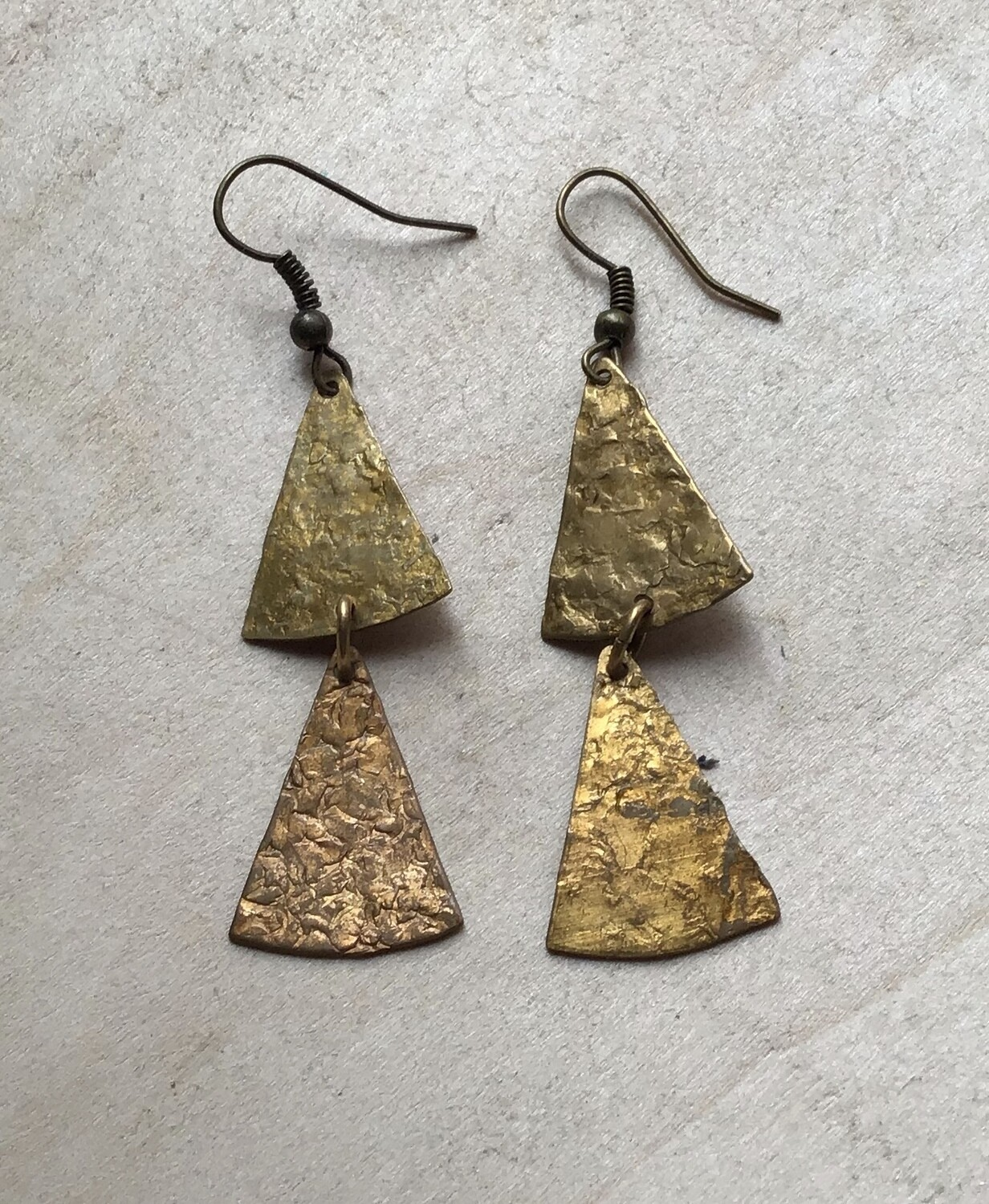 Earrings: Hammered Brass 2""