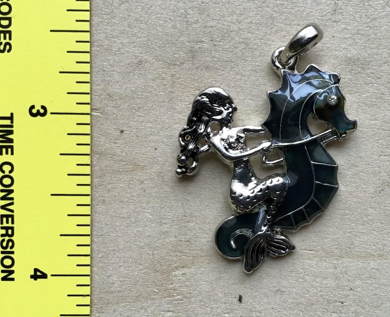 Pendant: Mermaid Riding Seahorse