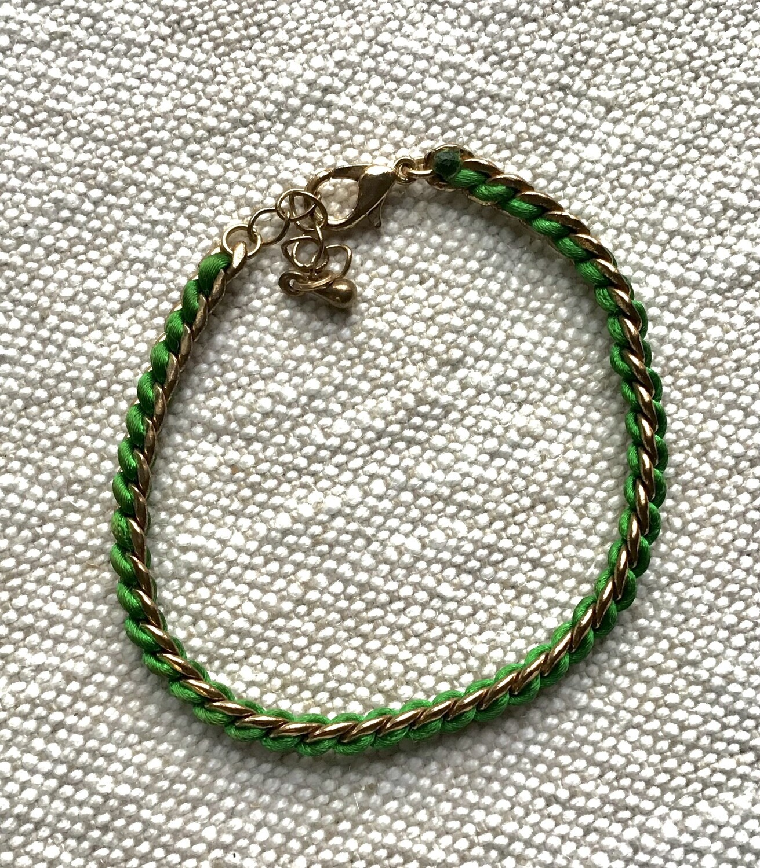 Bracelet: Green with Gold Trim