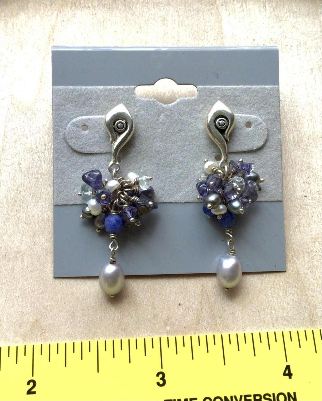 Earrings: Sterling Silver Purple Dangles Stones Beads Pearls Posts