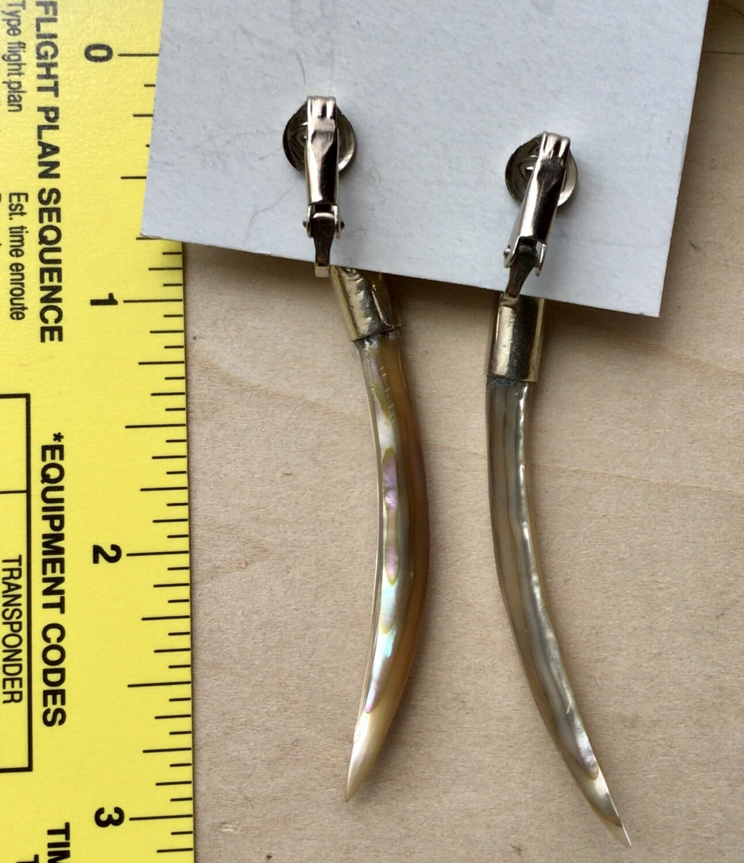Earrings: Long Shell Clip Ons
