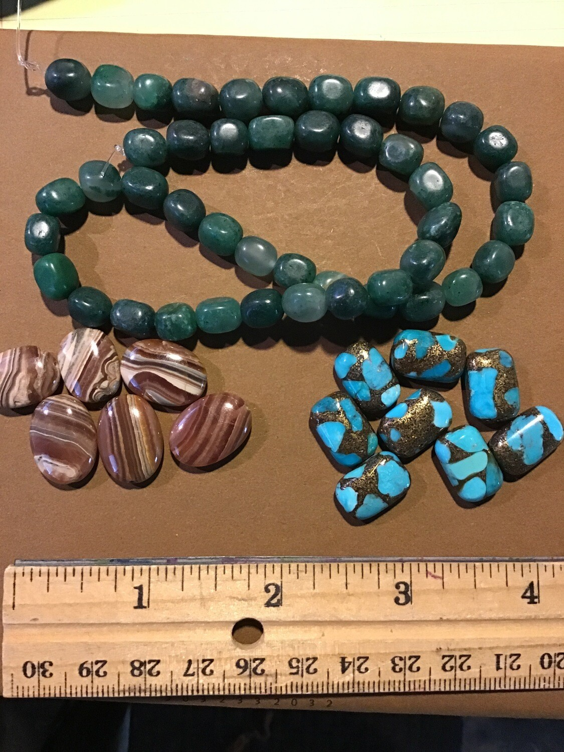 Beads: African Jade, Honey Brown Rhodochrosite, and Copper Inlaid Turquoise Beads