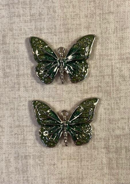 Green Butterfly Pendants  (Set of 2)