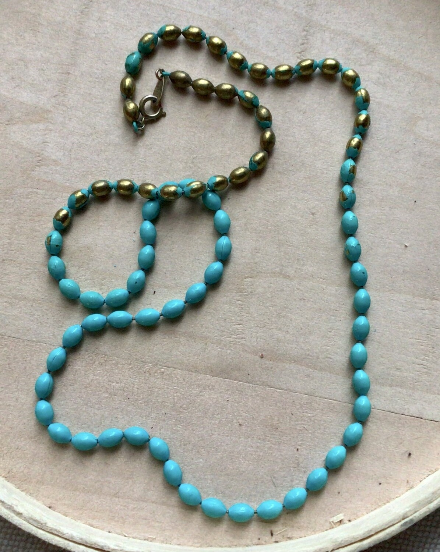 Necklace: Turquoise Coated Brass Beads Damaged