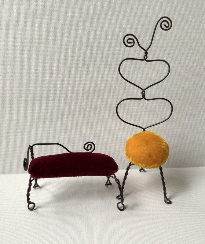 Miniature Furniture: French Red Sofa & Yellow Chair