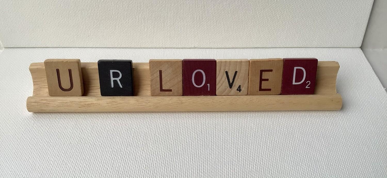 """Scrabble Tile Art: """"U R LOVED"""""""