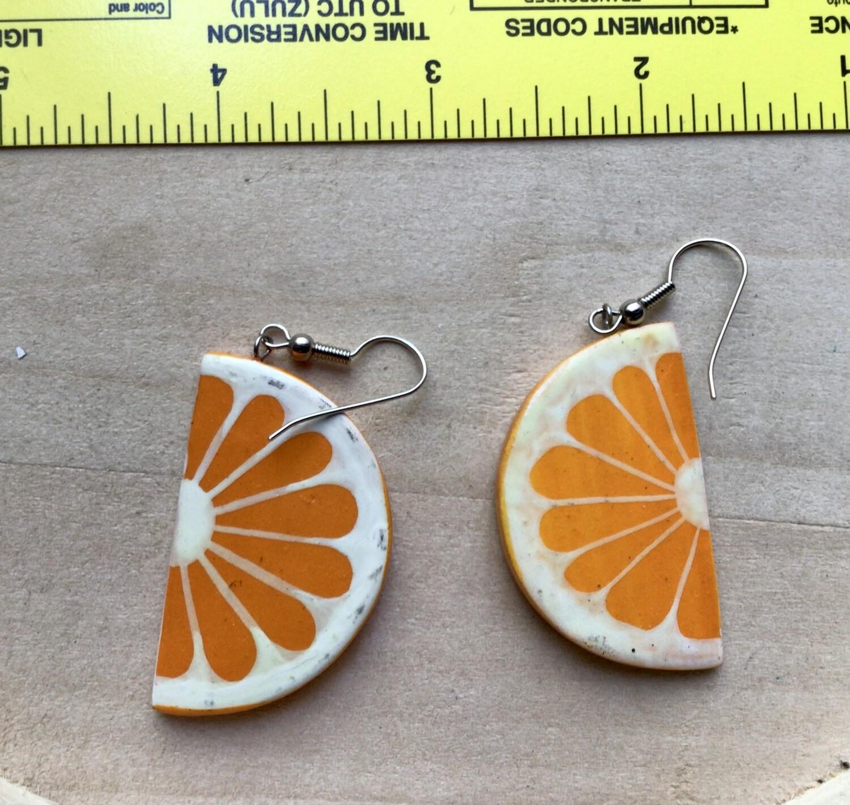 Earrings: Sliced Wood Oranges Vintage