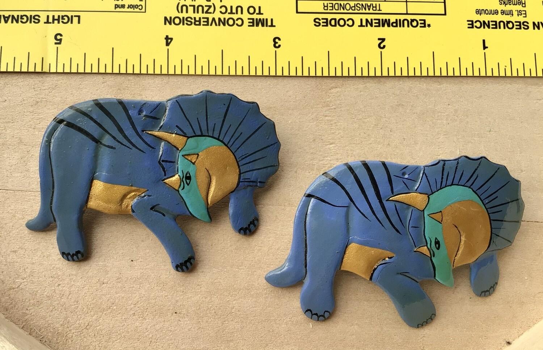 Earrings: Wood Blue Triceratops