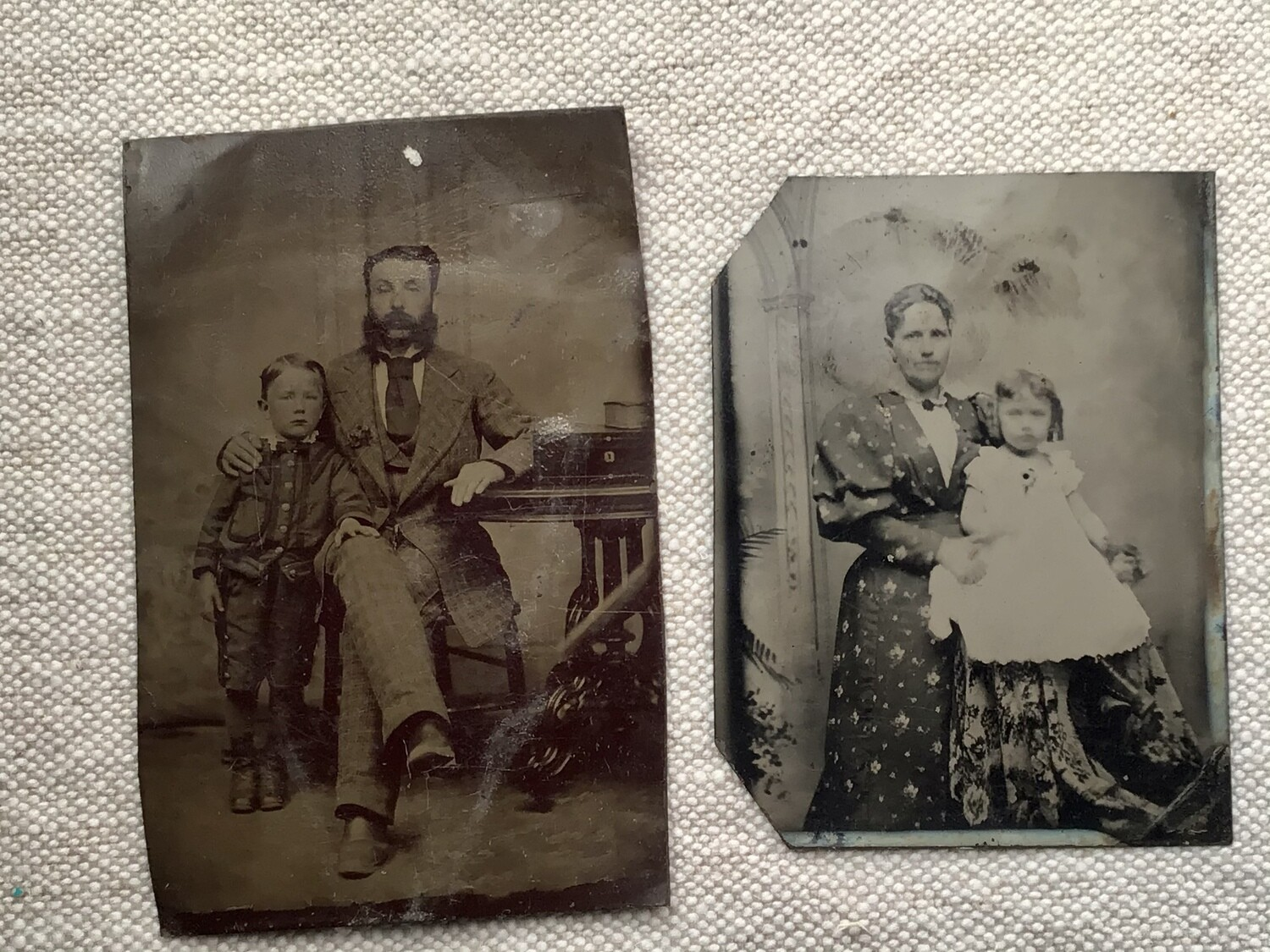 Tintype Photos: Mother/Daughter & Father/ Son