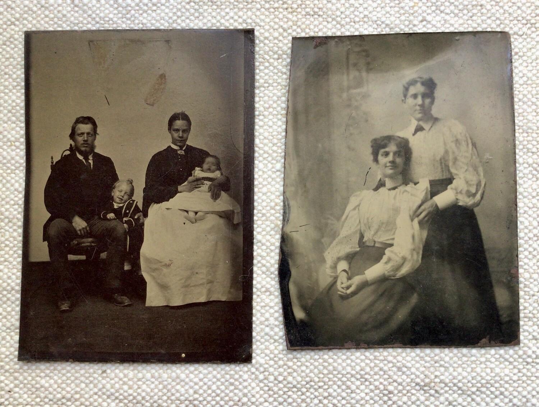 Tintype Photos: Two Women & A Family