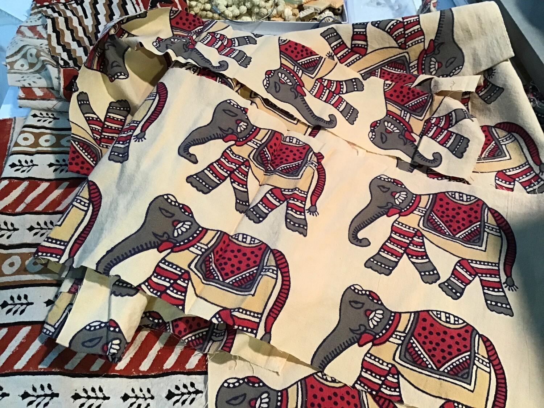 Fabric: Indian Elephant Print Remnants/ Cotton