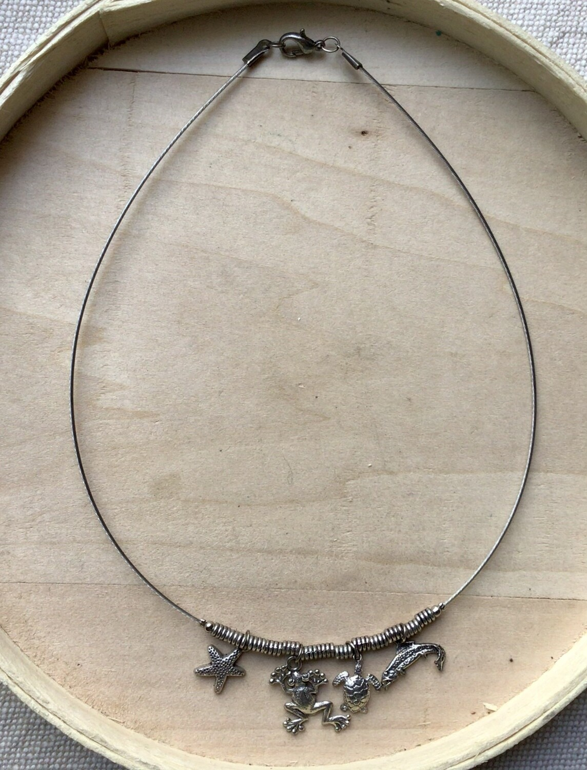 Necklace: Silver Animal Charms Choker