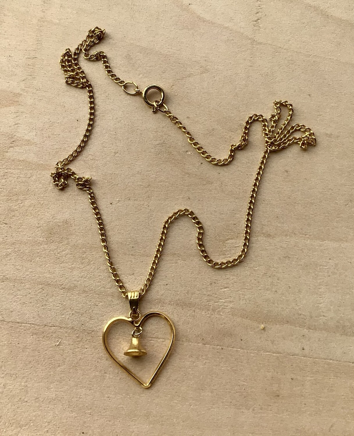 Necklace: Gold-Tone Heart With Bell