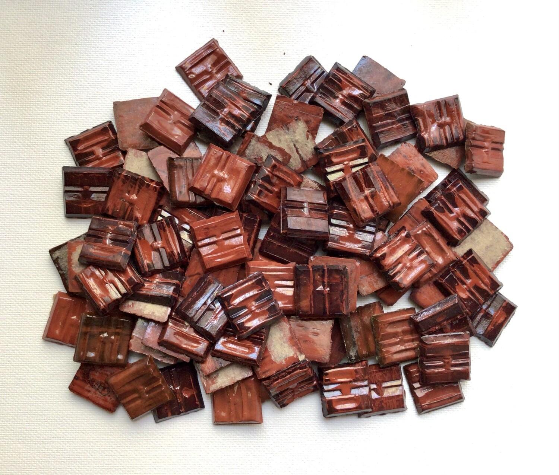 Mosaic Tile: Crimson With Black, 100 Pieces
